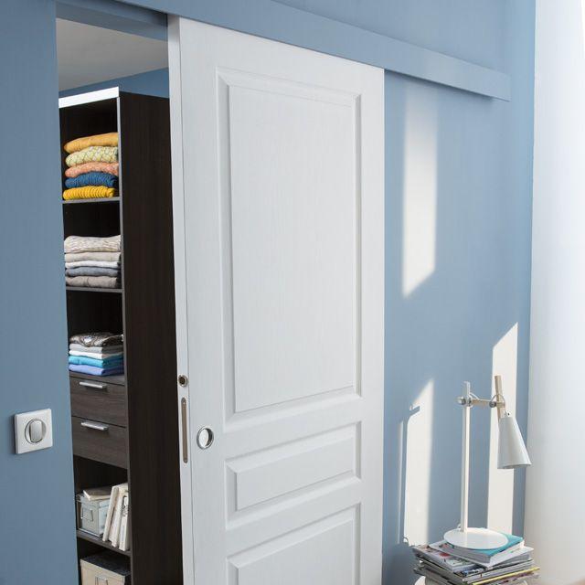 Porte coulissante seule 3 panneaux postform e en sapin for Porte coulissante galandage castorama