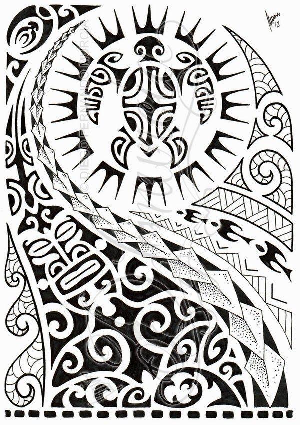 Desenho maori com tartaruga e máscara                                                                                                                                                                                 Mais