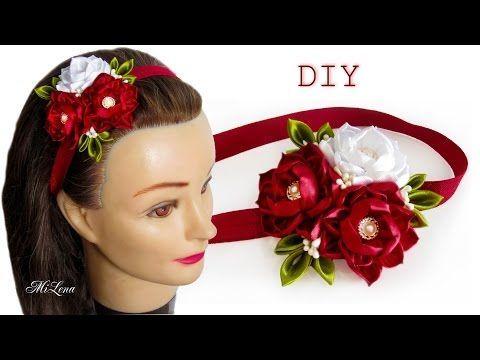 ПОВЯЗКА С ЦВЕТАМИ, МК / DIY Kanzashi Headband - YouTube