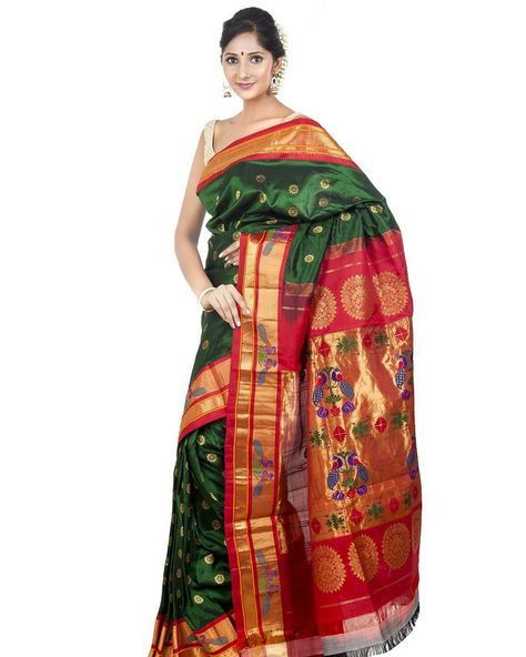 """#bottlegreen #paithani saree with rich peacock border. Buy now @onlypaithani #handloom #saree store.  For more information Whatsapp @ +91 9820516447 or…"""