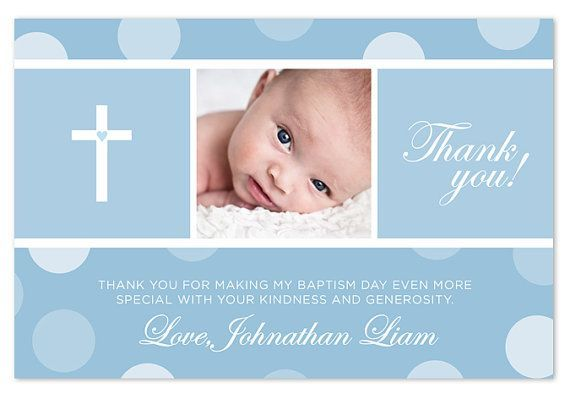 Baptism / Christening Thank You Card  Blue/Pink by PAPERHEARTSbyJ, $15.50: