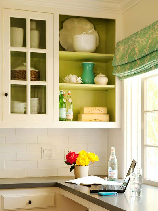 Pop of Color inside of cabinets. Painted cabinets