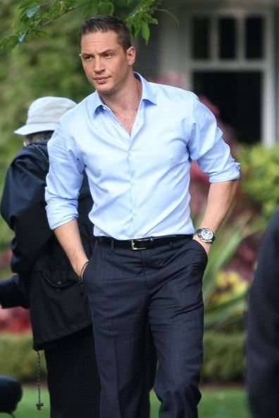 "That sexy furrowed brow look on his face along with that beautiful Blue shirt, which looks incredible on him & that blue shirt... Tom as Tuck in ""This Means War""."
