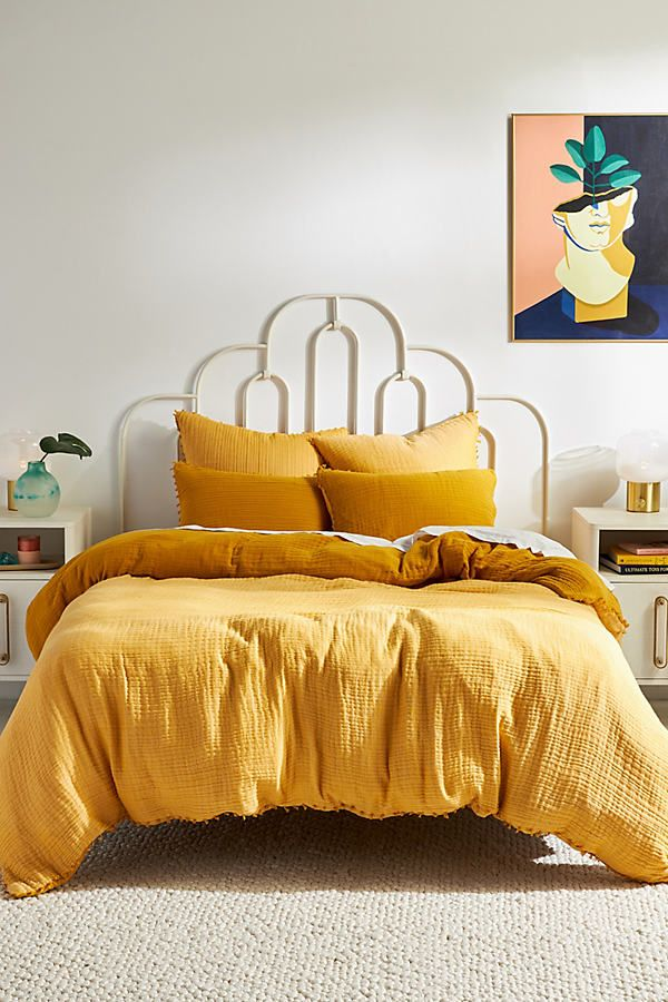 Reversible Airy Gauze Duvet Cover In 2021 Yellow Duvet Yellow Bedding Duvet Covers Yellow