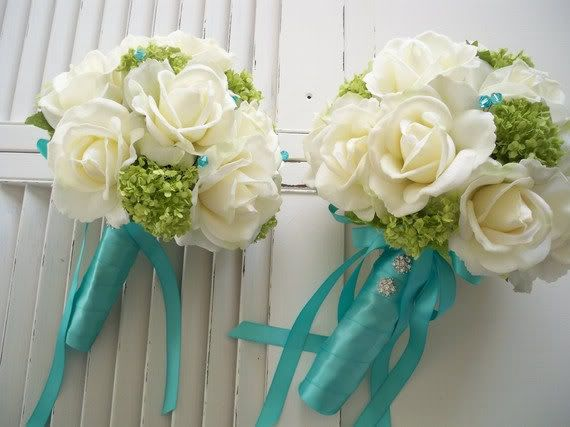 Bride's bouquet:Realtouch roses, green silk snowballs accented w/aqua crystals and tied w/tiffany blue ribbon from Nick & Nancy's DFTW - July 11,2012 *6/5 -Featured on Carly's Blog!*