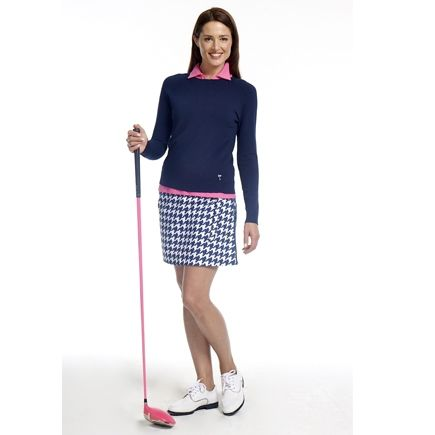 Golftini Pink Navy Houndstooth Wrap Golf Skort, Black Sweater and Hot Pink Polo | #golf4her #golfclothes #fall2014