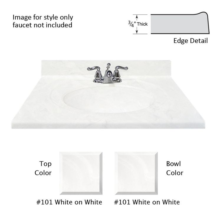 Web Photo Gallery Shop US Marble Recessed Oval Standard White on White Cultured Marble Integral Single Sink Bathroom Vanity