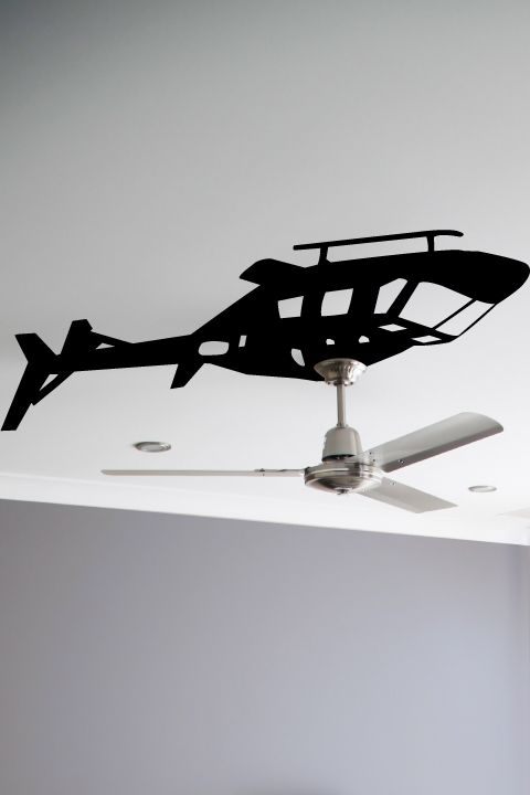 Helicopter Ceiling Fan wall decal by WALLTAT.com