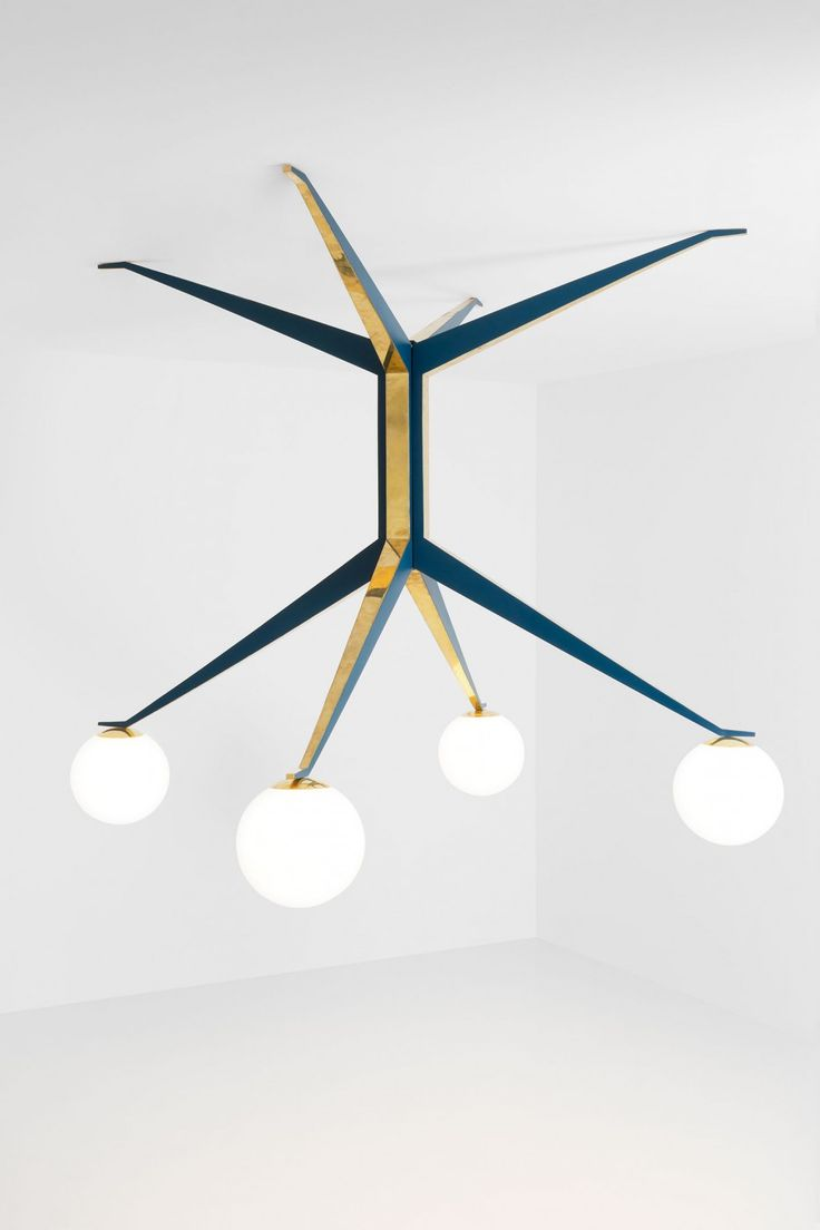 LAMPADA 045 DIMORESTUDIO 2015 Ceiling lamp in matte blue painted brass and polished brass. Opal glass spheres. w.210 x d.210 x h.180 cm