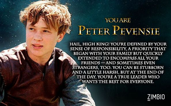 I took Zimbio's 'Chronicles of Narnia' quiz, and I'm Peter Pevensie! Who are you?