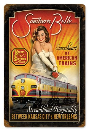 """What better way to travel through the south than on the """"Southern Belle"""" train? This poster is selling the sweet, charming ideals of the belle, which ignores her suppression."""