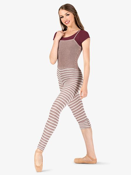 Natalie Womens Striped Knit Warm Up Camisole Overalls