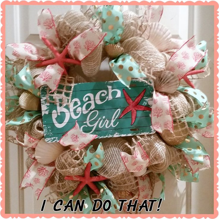 "Coral and Mint Deco Mesh Wreath ""Beach Girl"" Starfish and Seashells by WreathsbyMEM on Etsy"