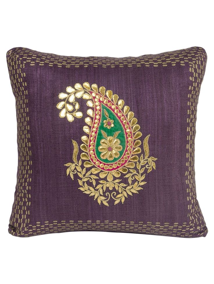 Buy Wine Ghicha Silk Gota and Applique Work with Zardozi Embroidered Cushion Cover 16in x Home Textiles Cushions Rangoli Colorful Hand Covers Online at Jaypore.com