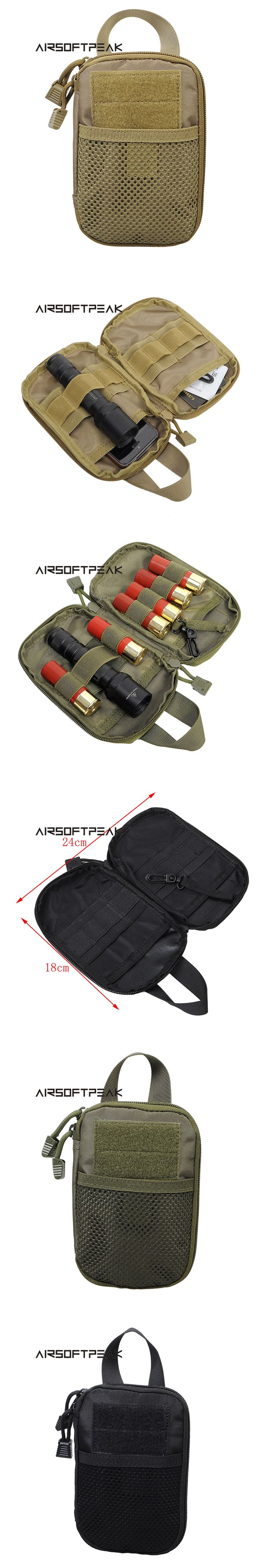 AIRSOFTPEAK Military Tactical Waist Hunting Bags 1000D Outdoor Multifunctional EDC Molle Bag Durable Belt Pouch Magazine Pocket
