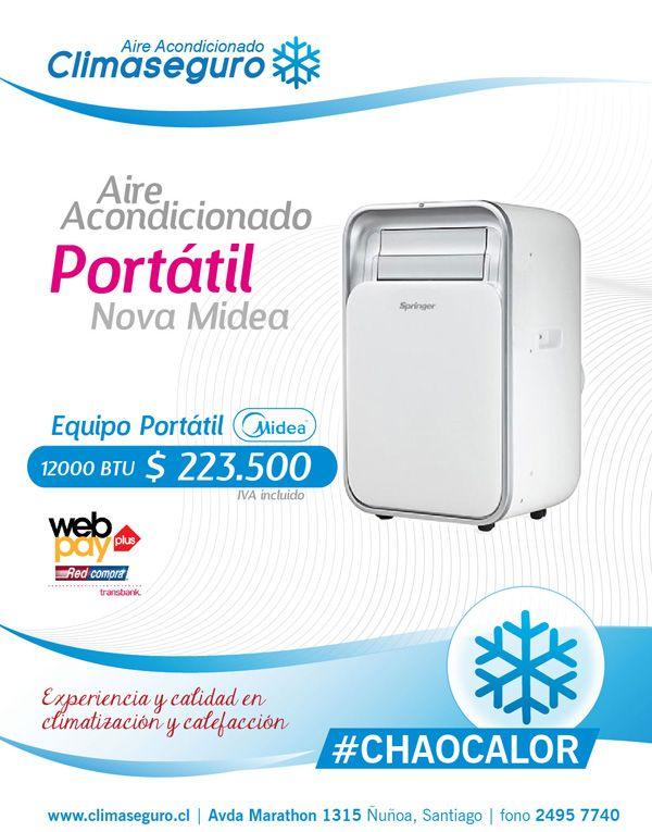 Aire Acondicionado Portatil Nova Midea 12000 BTU www.climaseguro.cl