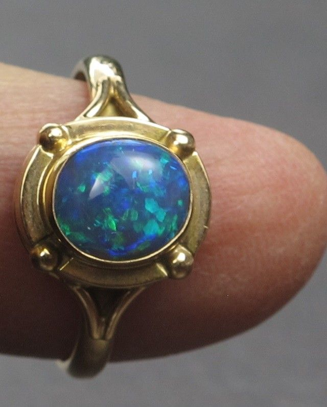 Solid Semi-Black Solid Opal Ring (GR 03) from Lightning Ridge  SEMI BLACK OPAL PREDOMINANTLY BLUY/GREENISHCOLOUR GEMSTONE FROM  LIGHTNING RIDGE, AUSTRALIAN  OPAL, ABSOLUTELY GORGEOUS