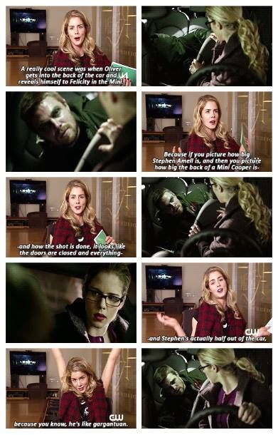 Arrow - 1x14 The Odyssey - Emily Bett Rickards on fitting Stephen Amell into the back of a Mini. - omg, this is hilarious!