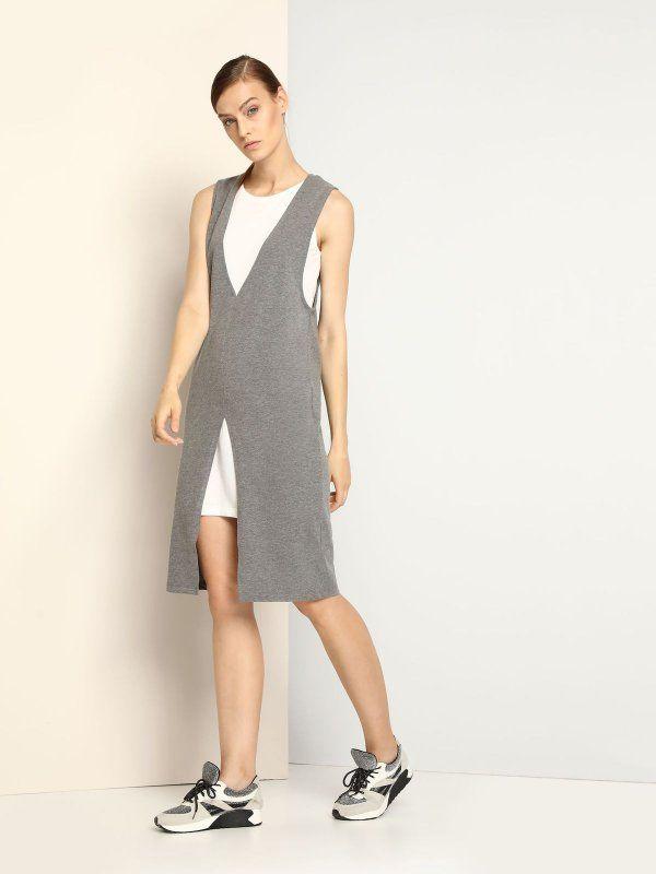 sukienka damska gładka szara - DSU0063 DRYWASH