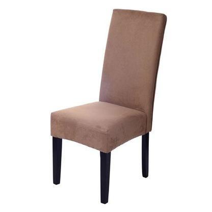 HomCom HomCom Faux Suede Contemporary Parson Dining Chair - Brown  alternate image