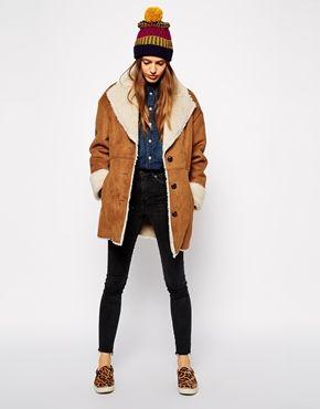 ASOS - Manteau en fausse fourrure et peau retournée vintage