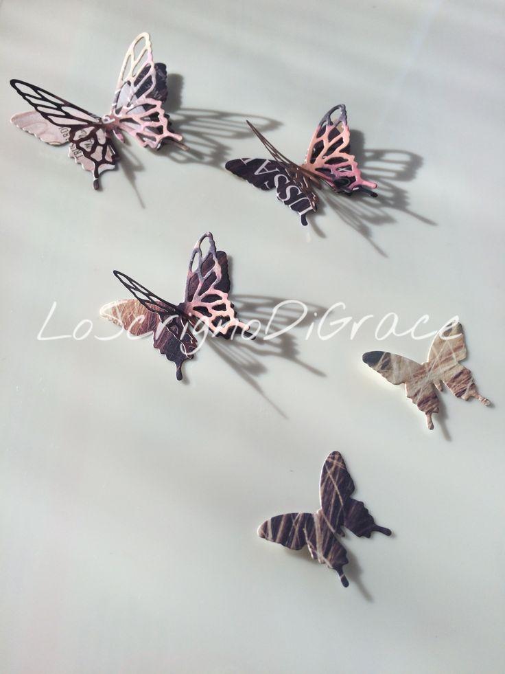 Farfalle in carta riciclata - copertine di riviste