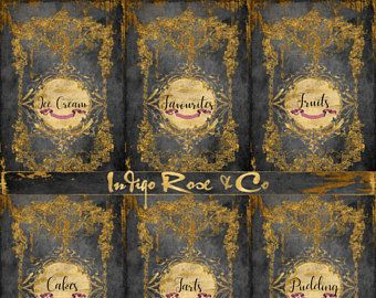 10 Recipe Book ADD ON HEADER Page Cupcake & Ribbons Tea Chalkboard Gold Foil Stationery Print Scrapbook Digital Download Journal Decoupage