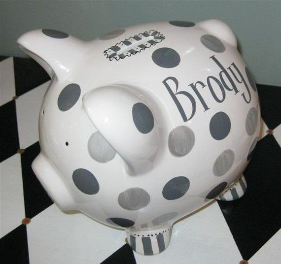 Piggy Bank Savile Personalized Ceramic Bank by PreppyPiggy on Etsy, $25.00