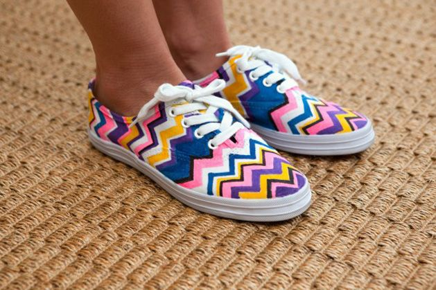 Refinery 29 provides an easy and fun tutorial on making your own version of the Missoni chevron shoes that w