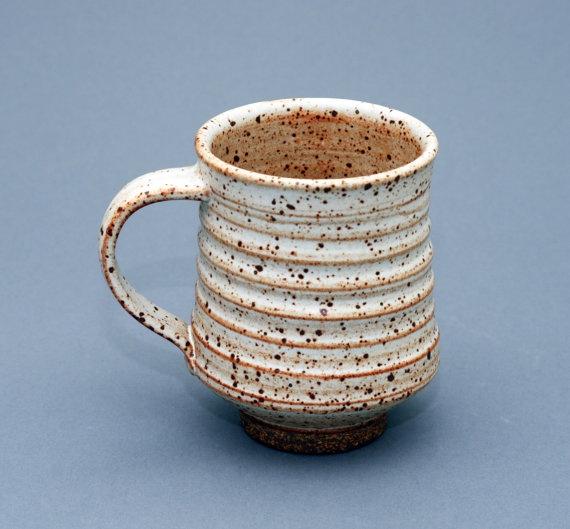 Wheel thrown stoneware mug white tan glaze with speckle by Hsin-Chuen Lin