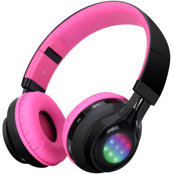 Bluetooth Headset, Riwbox AB005 Wireless Headphones 4.0 with Microphone Foldable Headphones with TF Card FM Radio and LED light for Cellphones and All Bluetooth Enabled Devices (Black&Pink). 3 LED lights color follow the music ups and downs at ear-pad two sides, fashion design, Best sound quality, Clear and transparent bass, mids and highs. Foldable Headset is easy to carry, adjustable headband for perfect fit,with TF Card FM Radio functions and detachable cable let you enjoy your music...