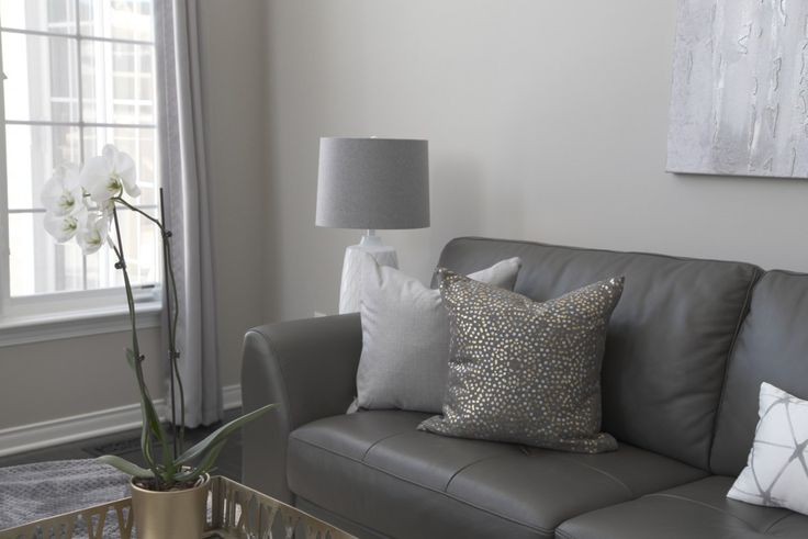 Family Room Revere Pewter Painted Walls Gold accent throw pillow