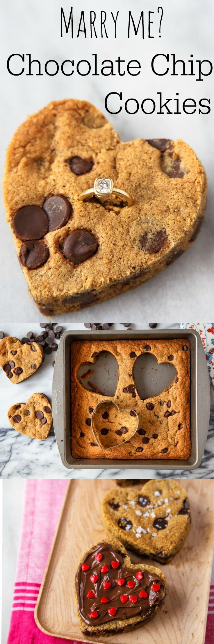 The easiest cut-out cookies ever--just press chocolate chip cookie dough into a brownie pan, and cut out with a heart. Diamond ring in cookies optional ;) @dessertfortwo