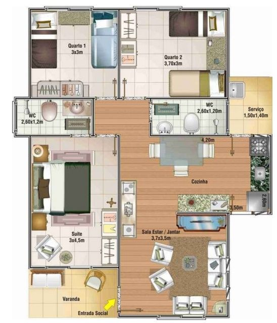 Plano de casa economica con 3 dormitorios