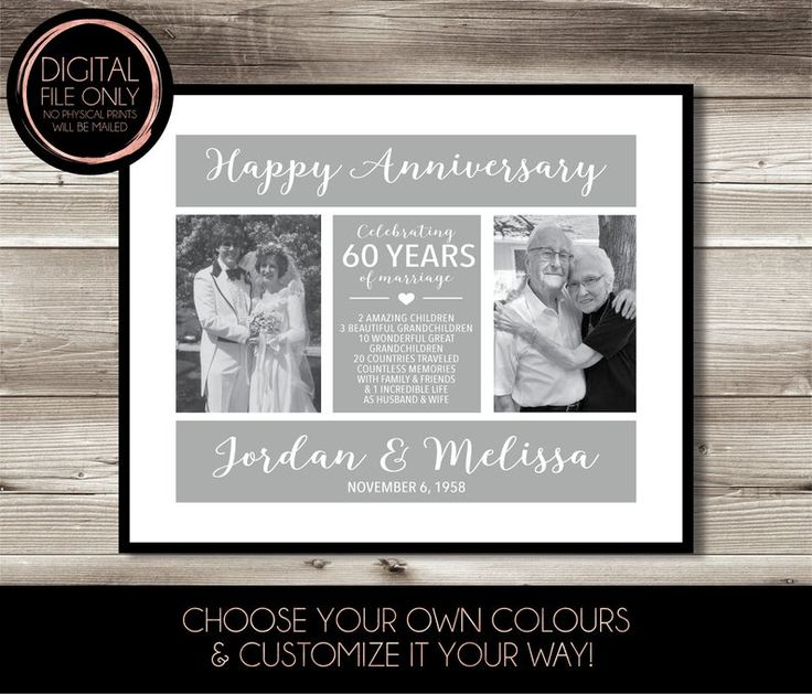 60 year anniversary then now photo gift digital file