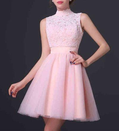 Ph07238 Short Prom Dresses Pink Prom Dresses Open Back Prom Dresses Tulle Prom Dresses A-Line Prom Dresses Prom Dresses