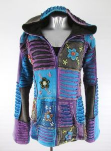 Hippy Coat~Bohemian Multicoloured Patchwork Hooded Jacket Lined Cotton Winter Hippy Hoodie~Fair Trade By Folio Gothic Hippy~Gringo