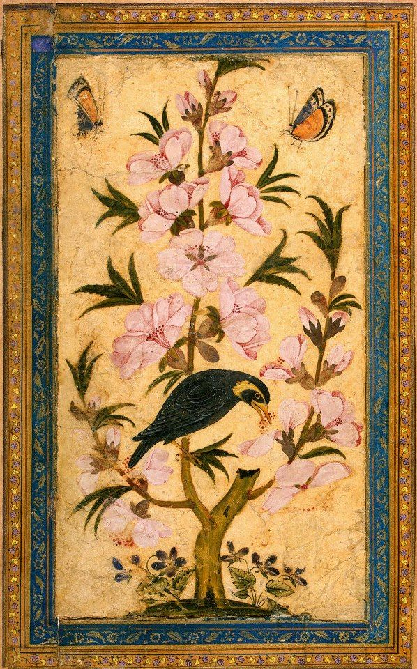 Bird Perching on a Blossoming Branch  Miniatures, Gouache, 20x11 cm  Origin: Iran  Second half of the 17th century