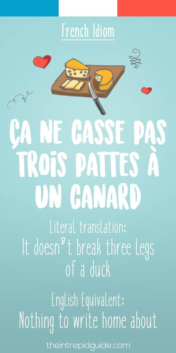 French idiom ca ne casse pas trois pattes a un canard