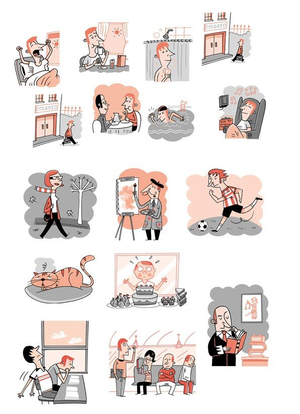 Use these images to speak Spanish: discuss them and talk about your daily activities.