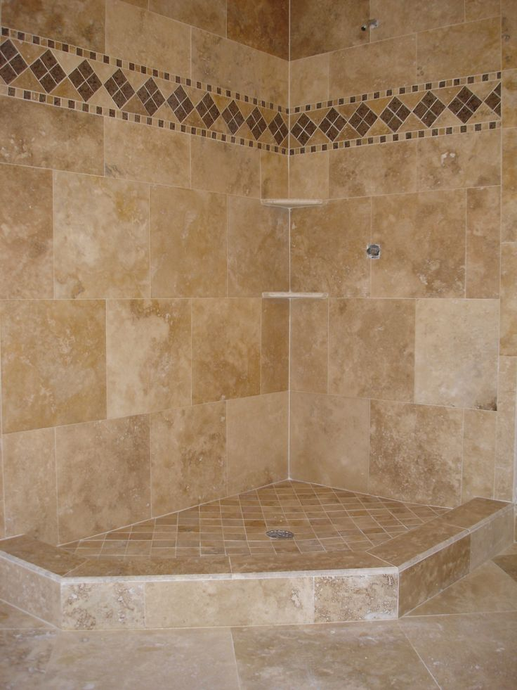 163 best images about bath redo on pinterest walk in for Bathroom travertine tile designs