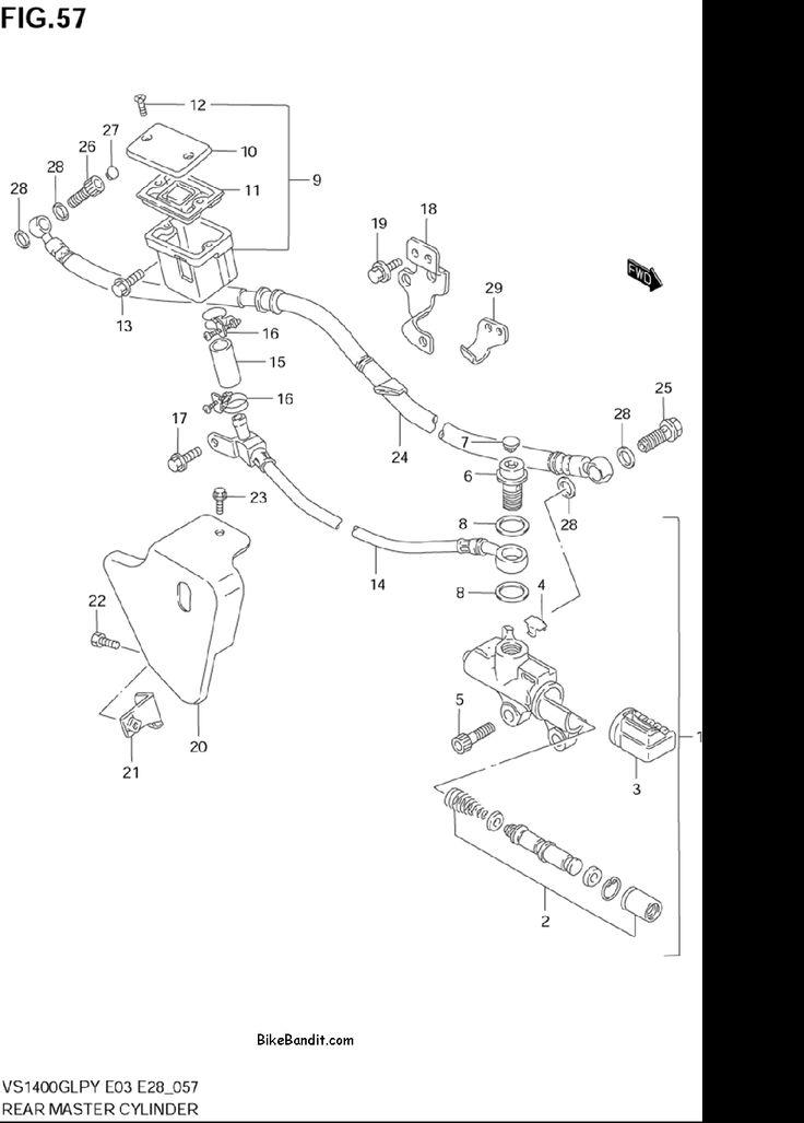 2003 Suzuki VS1400GLP Intruder REAR MASTER CYLINDER Parts, 2003 Suzuki VS1400GLP Intruder REAR MASTER CYLINDER OEM Parts - BikeBandit.com