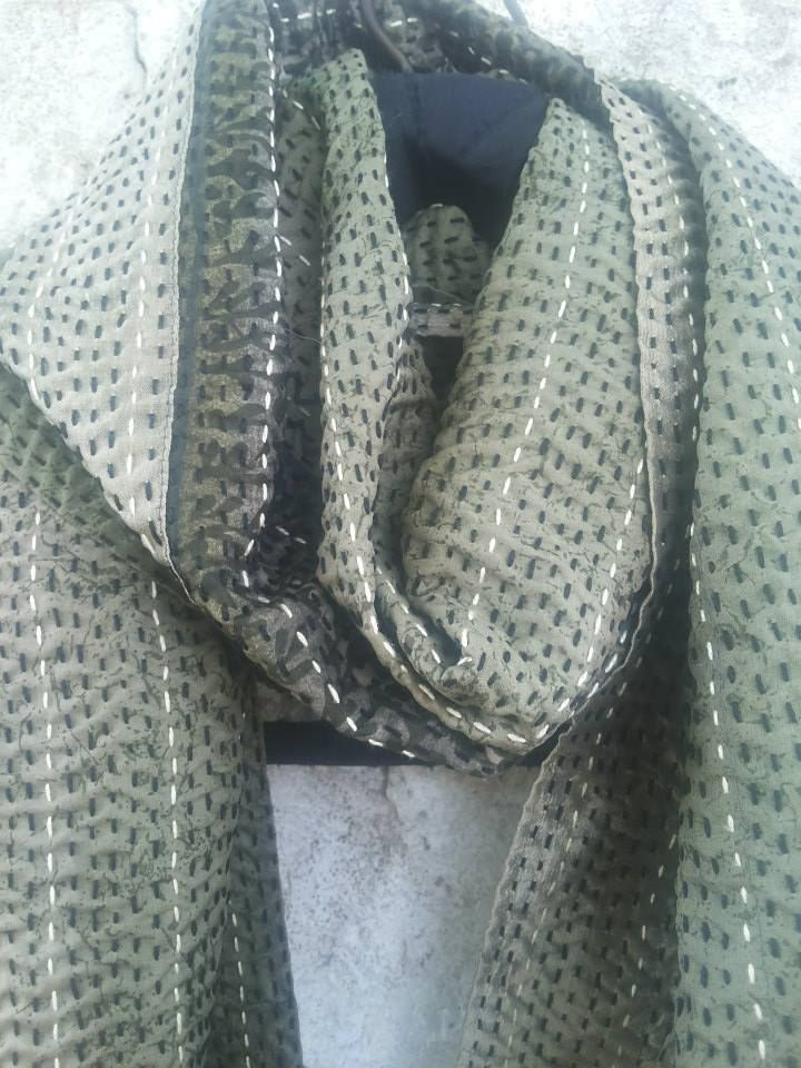 Name: Stitched Scarf Code: PD 24 Description: scarf 200 x 40 cm Materials: Re-cycled sari silk Hand stitch. kantha stitch CRAFTMARK