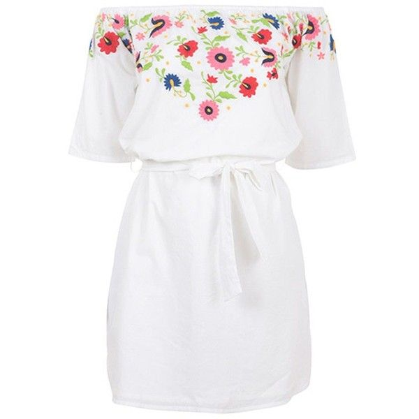 PAMPELONE Eivissa Mini Embroidered Dress - White (£140) ❤ liked on Polyvore featuring dresses, white, white cotton dress, cotton summer dresses, mini dress, white dress and white embroidered dress