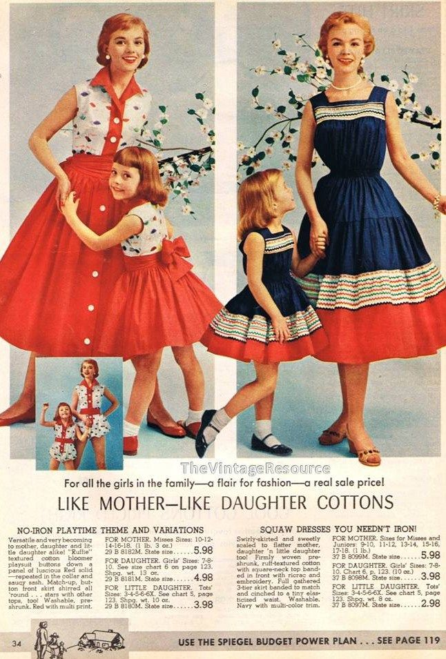 50's mother daughter fashions