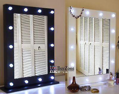Luz Espejo de Tocador Hollywood Bombillas LED maquillaje espejo de vanidad de madera
