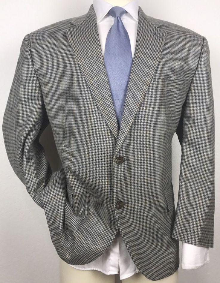 RALPH LAUREN Silk Linen Wool Houndstooth Plaid Windowpane Sport Coat Blazer 48R #RalphLauren #TwoButton