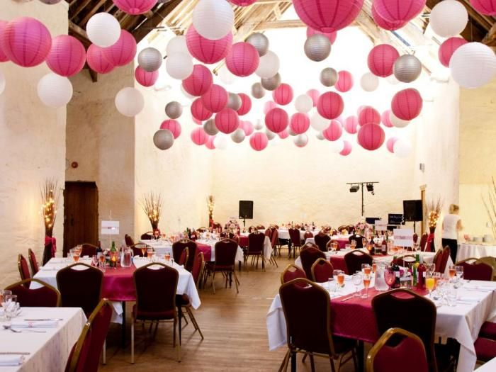 Silver Fuchsia And White Chinese Wedding Lanterns Baby Blue Instead