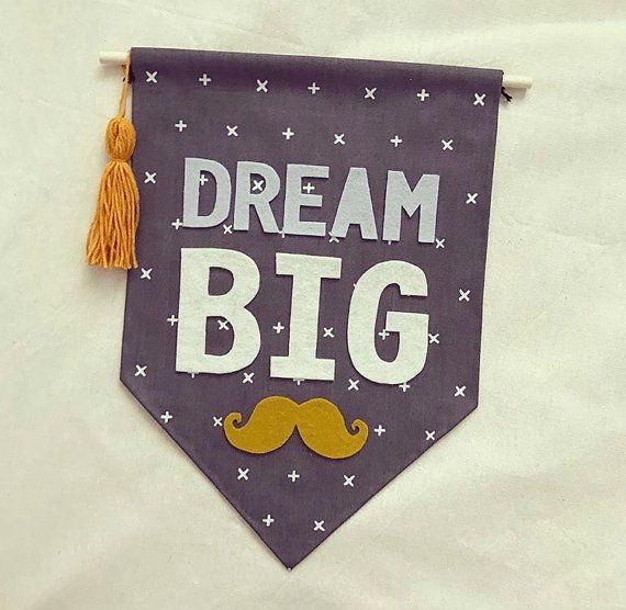 Dream big wall banner, grey wall flag, mustard, moustache, boys, kids room, tassel, nursery