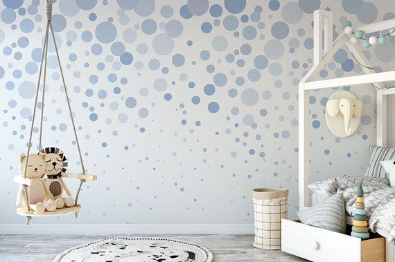 Blue Bubbles Cascading Wallpaper Removable Wallpaper Etsy Removable Wallpaper Peel And Stick Wallpaper Textured Walls